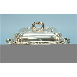 A fine Victorian sterling silver food warmer. Shaped rectang