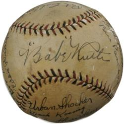 1927 New York Yankees Team Signed Baseball. Of