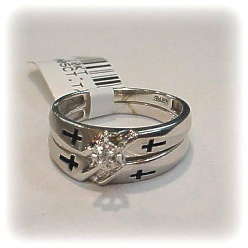 Diamond Christian CROSS Wedding Ring Set Gold 10K