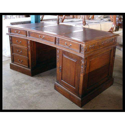 - LEATHER INLAID CURVED LAWYERS PARTNERS DESK #1541838