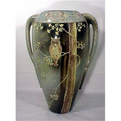 Nippon Moriage Vase With Owl Monumental 1550981