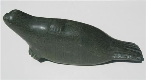 Canadian inuit seal soapstone carving