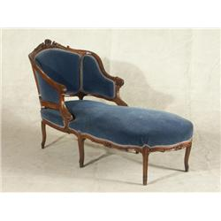 Vienna rococo 19th century walnut chaise lounge for 19th century chaise lounge