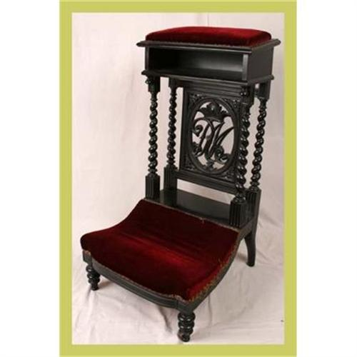 - Antique French Prie Dieu Prayer Chair Carved #1566045