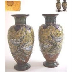 Pair Doulton Lambeth Vases (By Eliza Simmons.) #1599324
