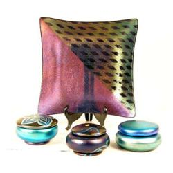 A GROUP OF THREE IRIDESCENT COVERED BOXES