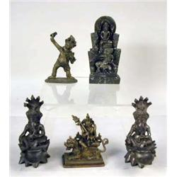 A GROUP OF FIVE PATINATED METAL SCULPTURES