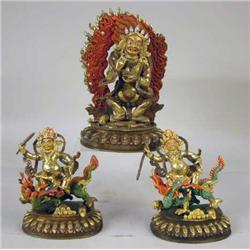 A GROUP OF GILDED BRONZE SCULPTURES