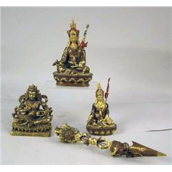 A GROUP OF THREE GILDED BRONZE SCULPTURES