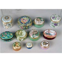 A GROUP OF HAND PAINTED ENAMEL METAL MOUNTED HINGED BOXES