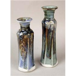 TWO POLYCHROME-DECORATED MARBLEIZED CERAMIC VASES
