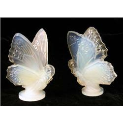 TWO FROSTED TO CLEAR ART GLASS SCULPTURES OF BUTTERFLIES