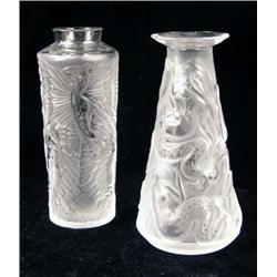 TWO FROSTED TO CLEAR SMALL VASES