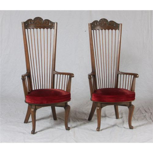 Colonial Dining Room Furniture: SIX OAK SPANISH COLONIAL STYLE DINING CHAIRS