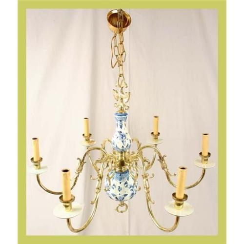 Blue delft chandelier hand painted brass 6 arm 1612883 mozeypictures Gallery