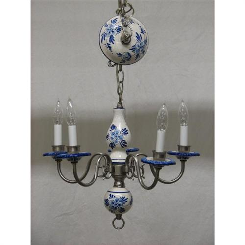 Delft 5 arm chandelier new mozeypictures Choice Image