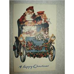TUCKS OILETTE SANTA CLAUS POSTCARD  CAR DOG #1679137