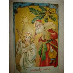 ANTIQUE SANTA CLAUS ST NICK POSTCARD ANGELS #1679160