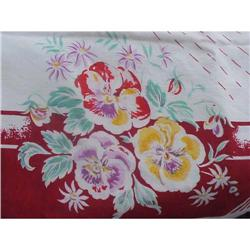 SHABBY CHIC 1940s PANSIES PRINTED TABLECLOTH  #1679172