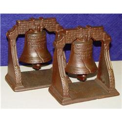 Vintage Cast Iron Liberty Bell Bookends #1679183