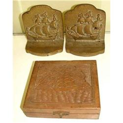 Bronze Ship Nautical Bookends Carved Cigar Box #1679185