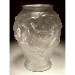 CZECH ART DECO GLASS VASE FLYING BIRDS #1721861
