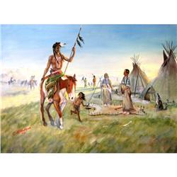 L. B. Milligan Original Oil Indian Scene