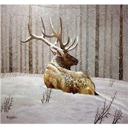 Ray Worton Orig  Oil of Elk In Snow