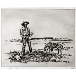 Ace Powell, Etching of Charlie Russell