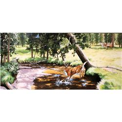 J Grande-Utter, Watercolor Whitetail Scene
