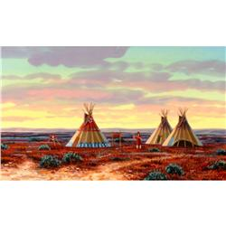 Paul Surber Painting Gouache Teepees