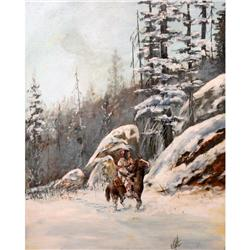 Indian in Snow Original Oil
