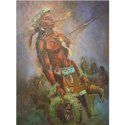 Rare Sun Dance Ceremony Oil Painting