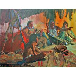 """Put"" Putman Acrylic Indian Teepee Scene"