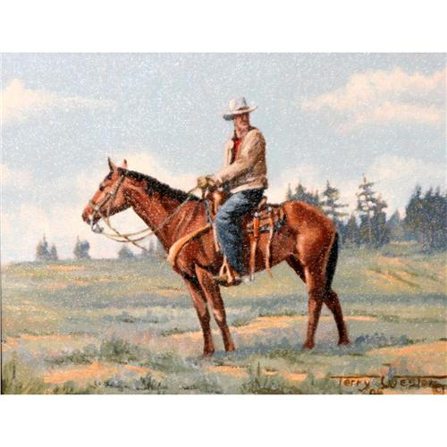 Cowboy On Horse Painting cowboy on horse