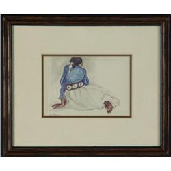 R.C. GORMAN LITHOGRAPH WOMAN WITH CONCHO