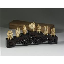 JAPANESE SEVEN GODS OF FORTUNE IVORY FIGURINES