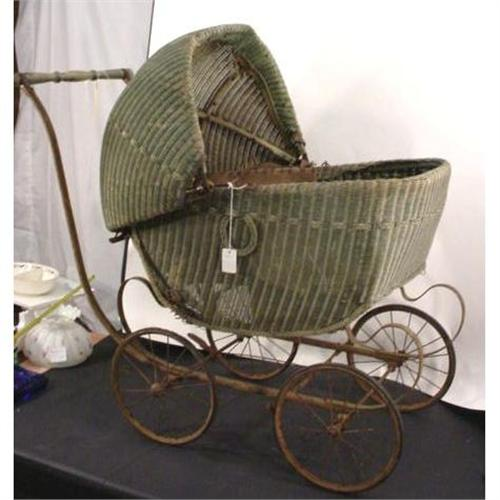 Vintage Green Wicker Baby Buggy