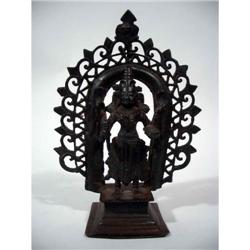 A FINE INDIAN BRONZE OF DURGA,