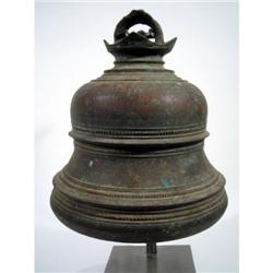 A LARGE INDIAN BRONZE TEMPLE BELL,
