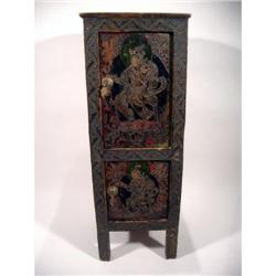 EARLY TIBETAN RITUAL BUTTER LAMP CABINET,