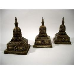 A RARE COLLECTION OF THREE NEPALESE AUSPICIOUS BUDDHIST CAITYAS,