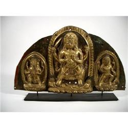 A FINE NEPALESE COPPER REPOUSSÉ FIRE GILDED TRIPTIQUE,