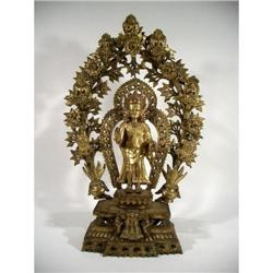 AN OUTSTANDING GILDED BRONZE SCULPTURE OF BUDDHA DIPANKARA,