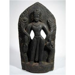 A RARE NEPALESE SCULPTURE OF VISNU,