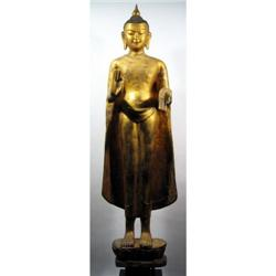 A BURMESE GILDED TEMPLE SCULPTURE OF BUDDHA,