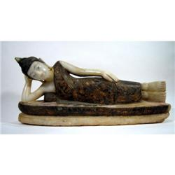 A SUPERB SHAN RECLINING ALABASTER BUDDHA,