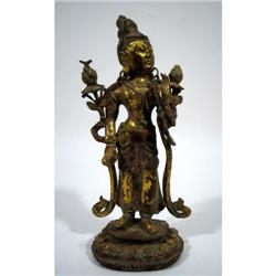 A FINE BRONZE GILDED SCULPTURE OF BUDDHA,