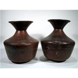 TWO FINE COPPER ALLOY WATER VESSELS,