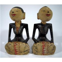 TWO JAVANESE SCULPTURES (loro blonyo),